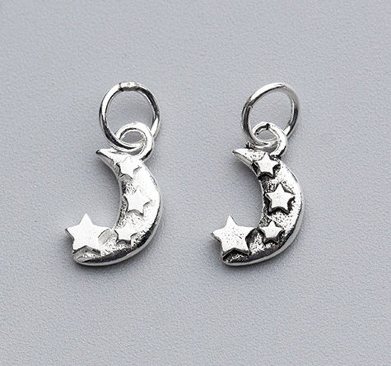 4 Pcs 12.5\u00d77mm Sterling Silver Moon And Star Charms 925 Silver Moon Star Pendant