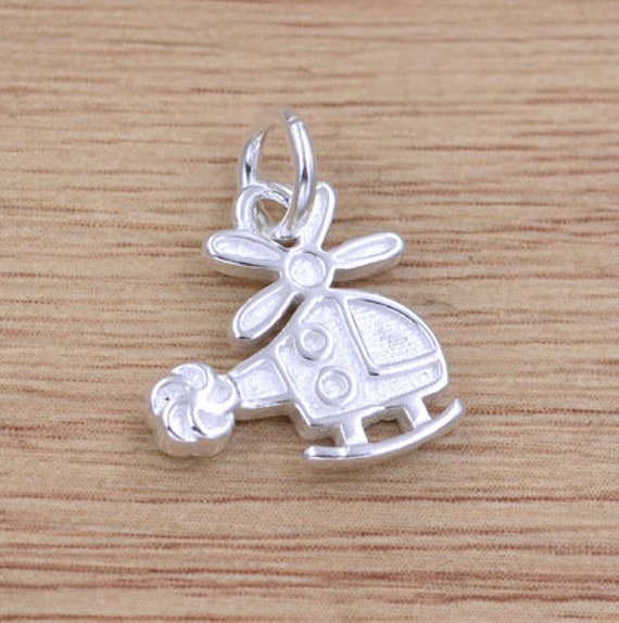 Silver Yellow Plated 3-D Helicopter Charm 19mm