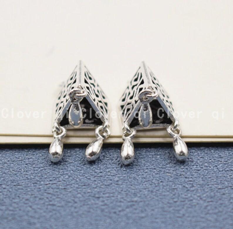 2 Pcs 4\u00d723mm Sterling Silver Chinese Lantern Pendant 925 Silver Dangling Pendants