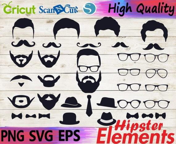 Hipster Svg Beard Svg Cricut Files For Silhouette Vinyl Etsy