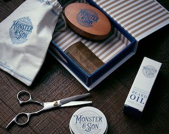 Organic Beard Grooming Kit by Monster&Son Premium 7 Item Giftbox Set