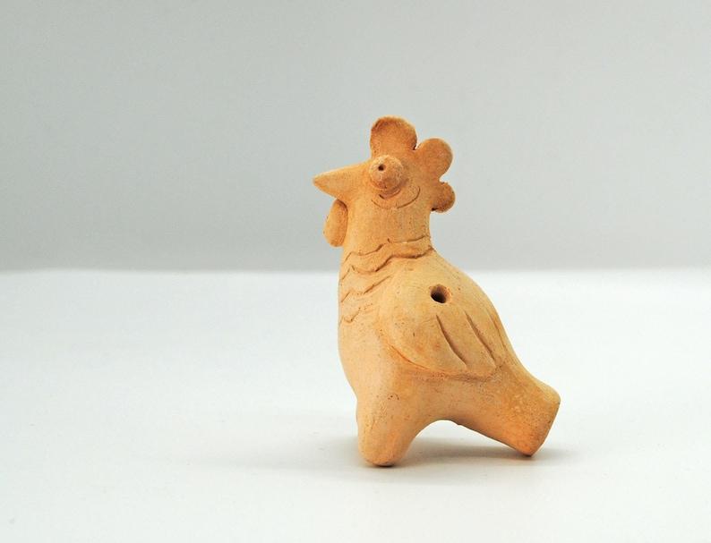 Ceramic Handmade Cockerel Easter Gift Idea Ceramic bird whistle Funny whistle Cock