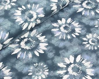 16.60 Euro/lfm cotton jersey flowers 50 x 150 cm meterware Gerbera Love by I'M SEW happy blue