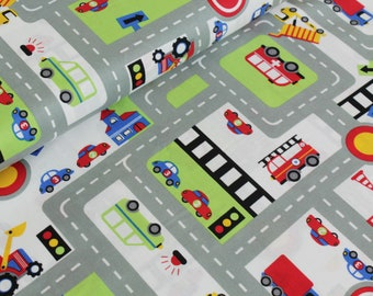 9,50 Euro/lfm cotton fabric road traffic white car, vehicles, road 50 x 140 cm by the meter