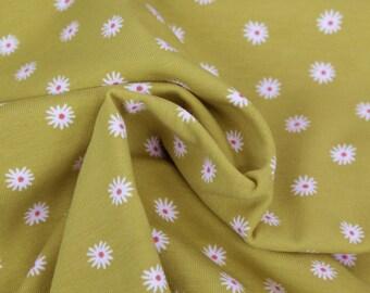 13.50 Euro/meter cotton jersey ochre, mustard, curry with flowers white 50 x 150 cm meterware