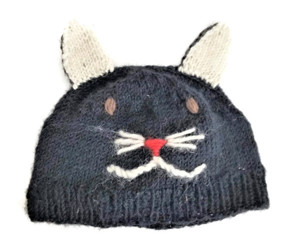 Hand Knit Kids Cat Ear Hat Cap Beanie Embroidered