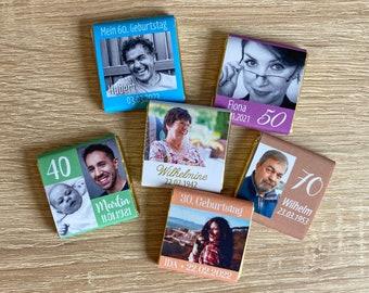 Gastgeschenk Geburtstag   Schokolade Schokotäfelchen 5g   personalisiert