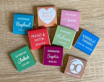 Gastgeschenk Hochzeit   Schokolade Schokotäfelchen 5g   personalisiert