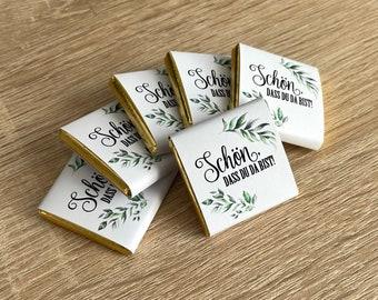 Gastgeschenk Hochzeit   Schokolade Schokotäfelchen 5g   Schön, dass Du da bist!   Wunschmotiv