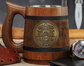 Custom Gift for Men Personalized Minnesota Vikings Tankard NFL Sport Gift Minnesota Vikings Beer Mug American Football Wooden Beer Stein Gift for Him