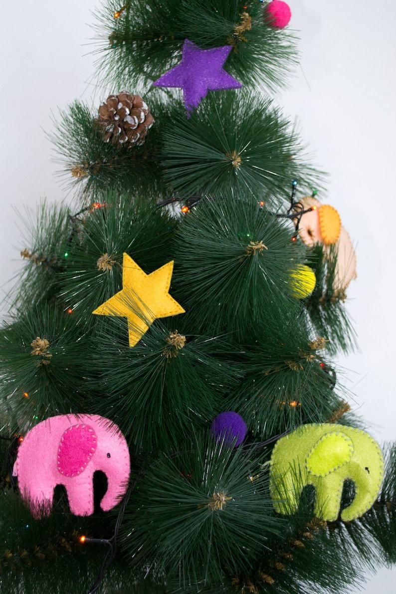 Handmade Elephant Christmas Ornament Felt Garland