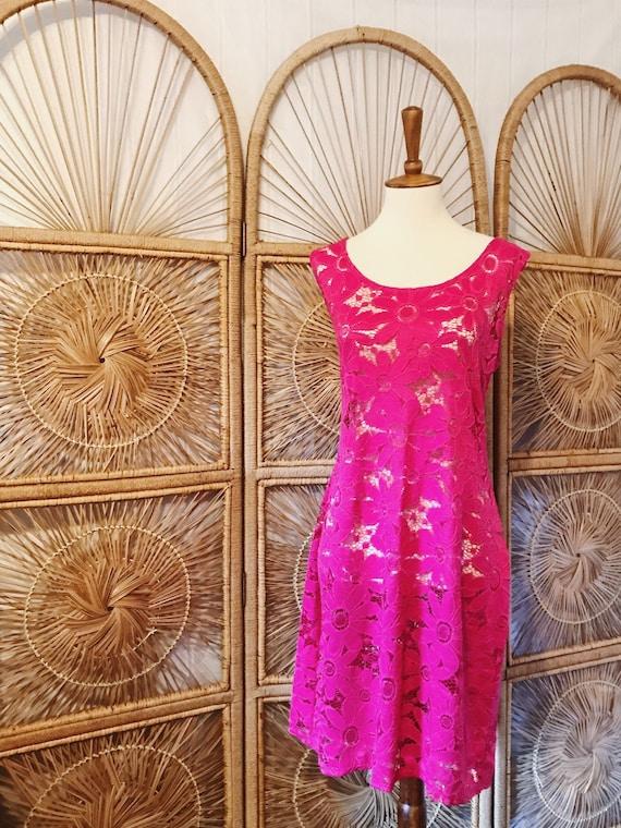 Vintage 90s Hot Pink Sunflower Lace Crochet Dress