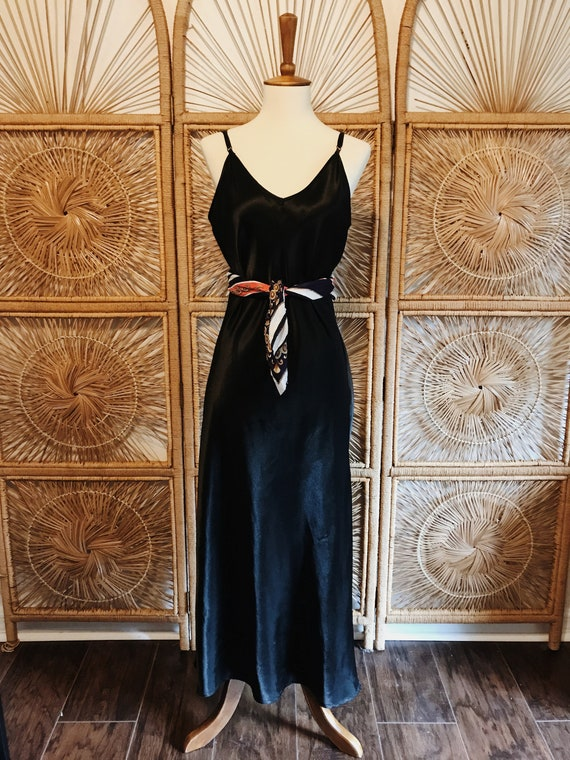 Vintage 90s Black Maxi Slip Dress