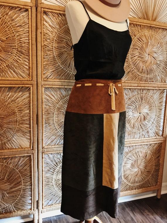 Vintage 90s Colorblock Western Leather Skirt - image 4