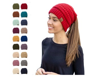 886cfb1c Womens CC Beanie Tail Messy High Bun Ponytail Hat Knit Winter Cap Hole  Slouchy Women's Accessories Hats