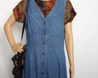 ae60e1aaf600 Authentic Lee denim overall dress - 100% cotton genuine Lee denim vintage  dress - blue 90s lee dress - size large - indie grunge -