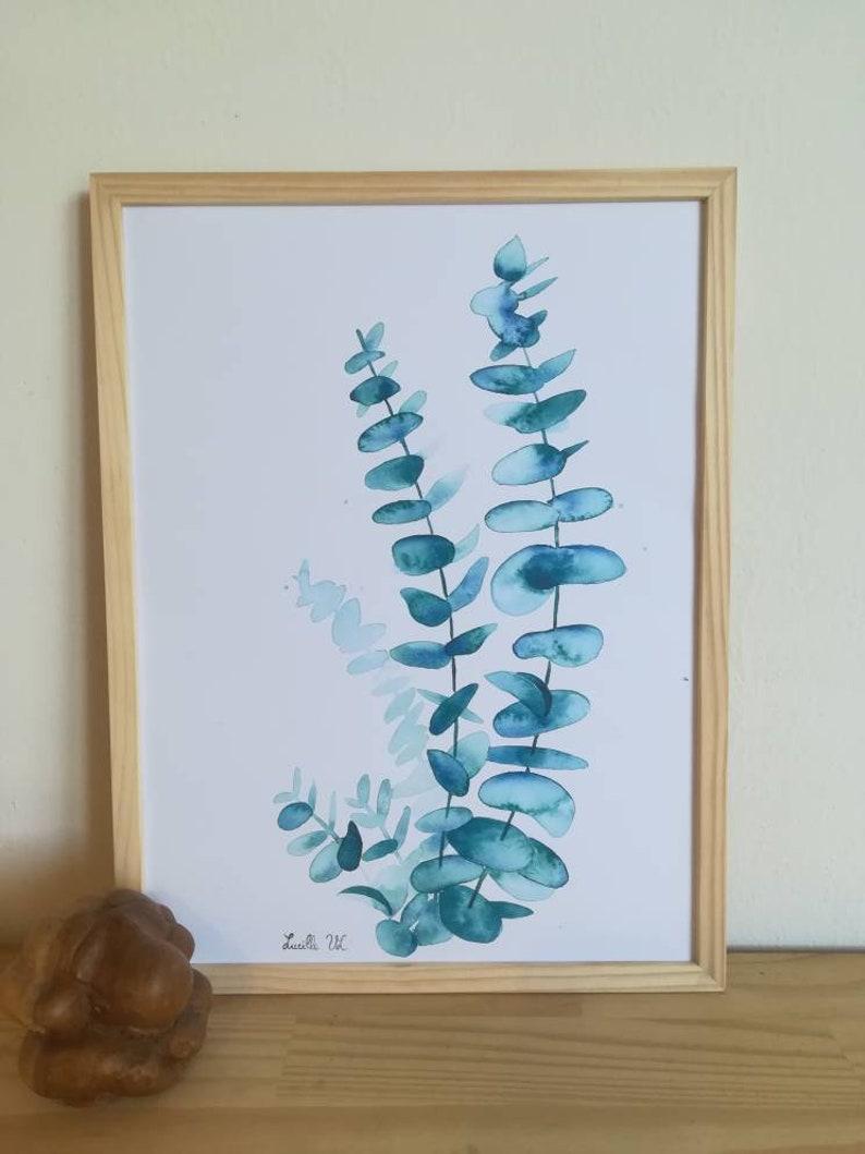 Feuille D Eucalyptus Bouquet affiche a3, feuilles d eucalyptus, tirage sur papier d une aquarelle  originale