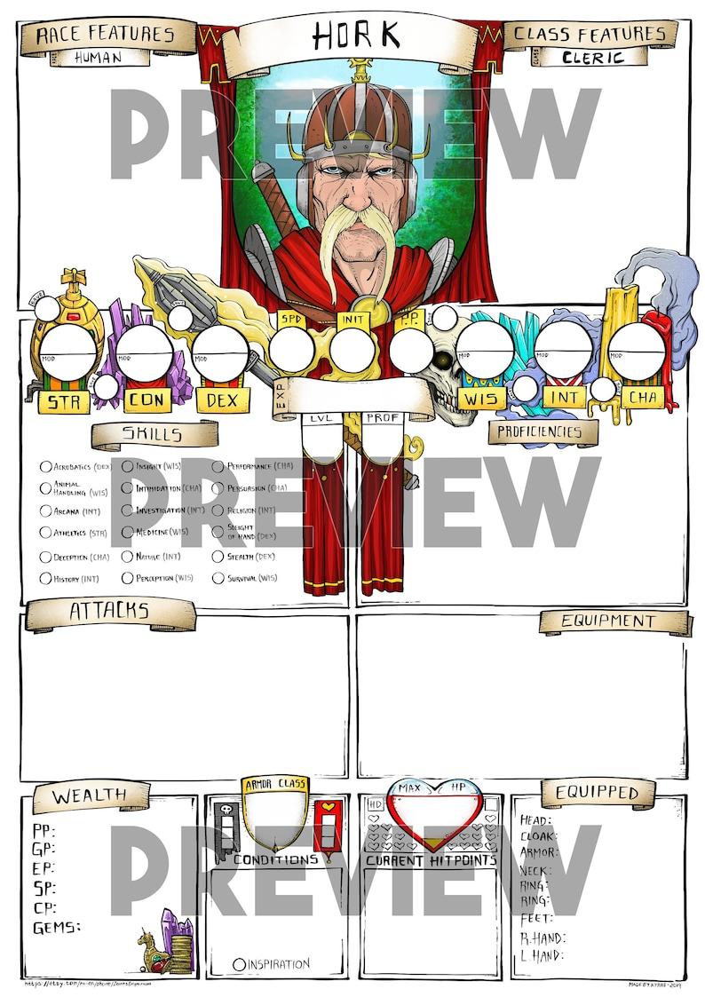 Custom character sheet - Theme: Cleric - Color Hork