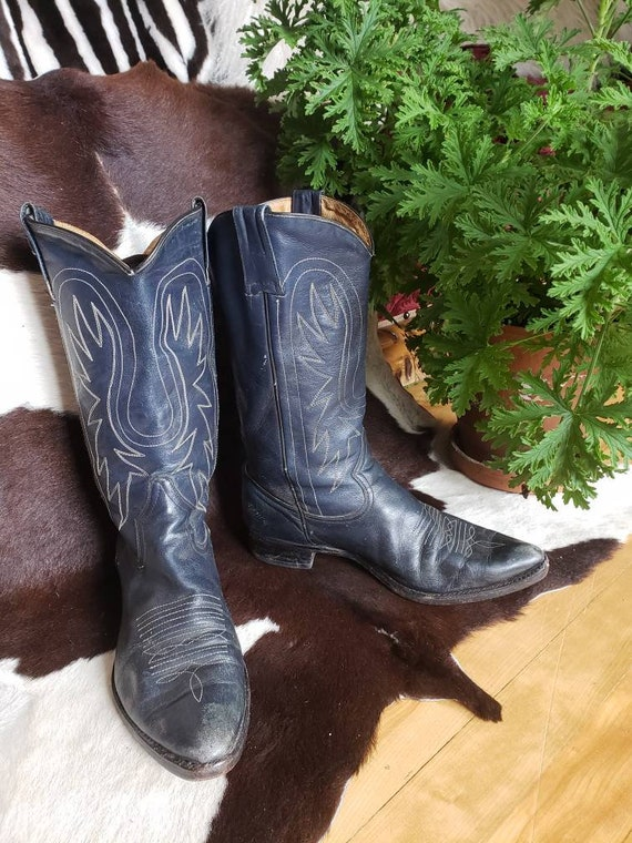 NAVY BLUE Eagle Wing stitched Men's cowboy boots