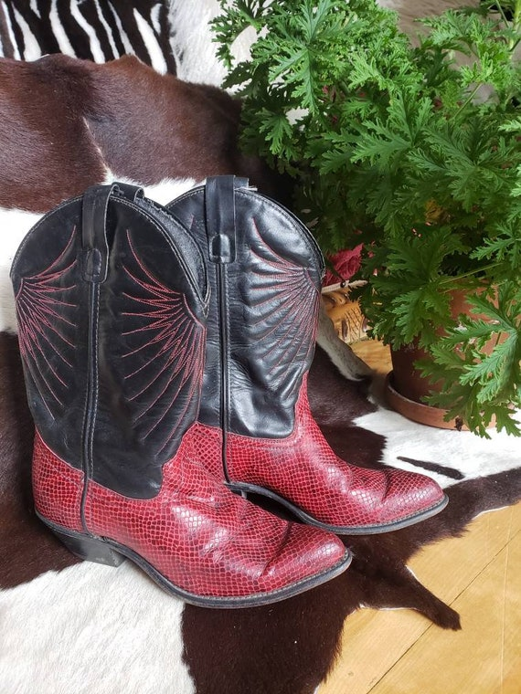 Red snakeskin eagle embroidered  cowboy boots