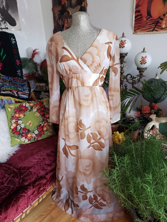 Malia of Honolulu chiffon 1960s Hawaiian couture … - image 1