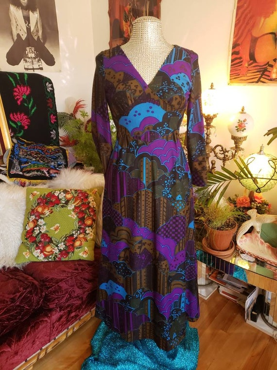 George's Besson Paris 1960s psychedelic print maxi