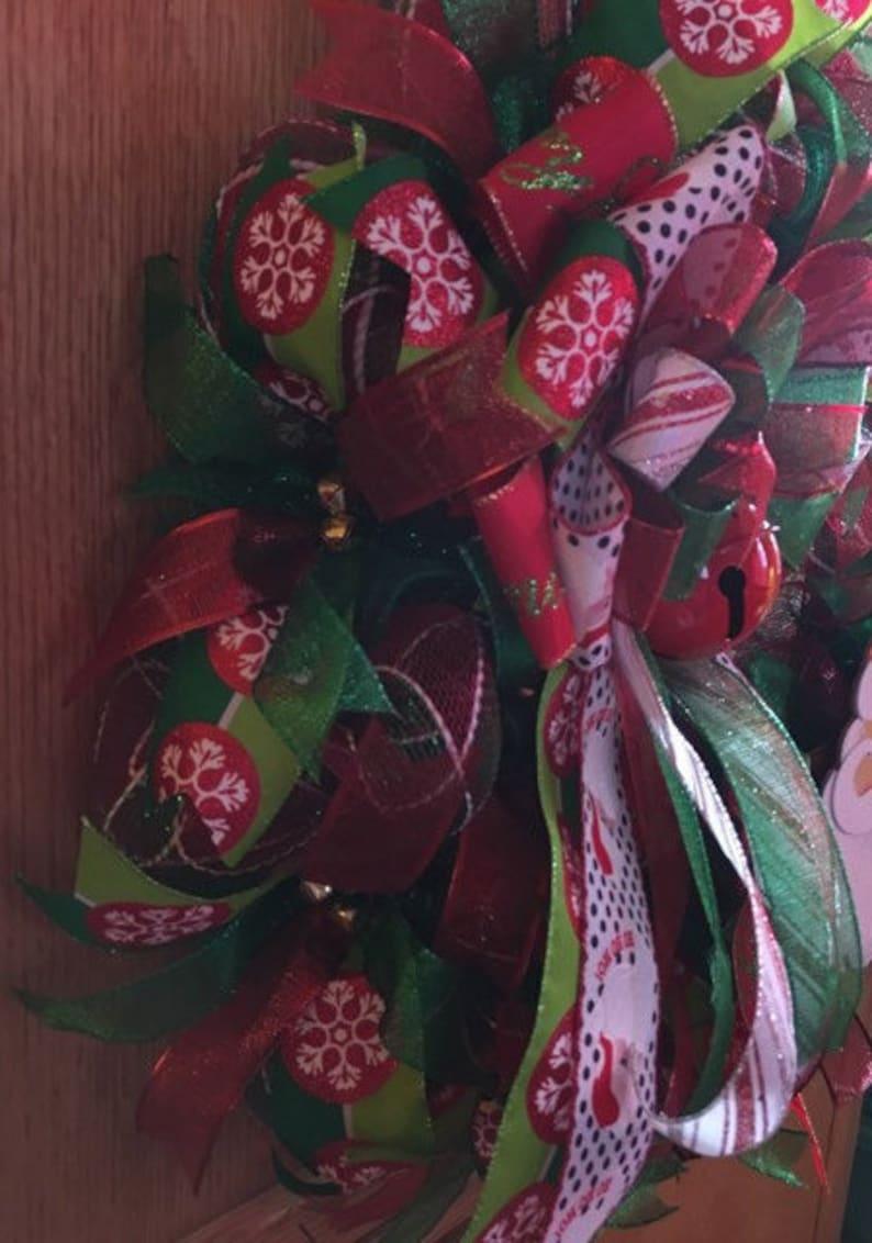 deco mesh wreath Santa wreath Christmas wreath holiday decor door decor HOHOHO wreath