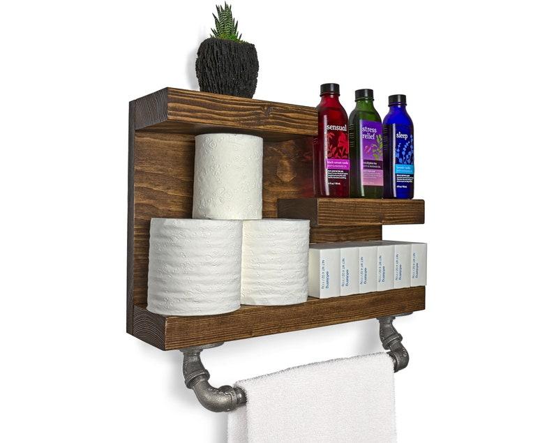 Rustic Man Cave Shelf 17 Modern Farmhouse Bathroom Wall Shelf with Industrial Pipe Towel Bar Living Room Shelves Toilet Paper Holder
