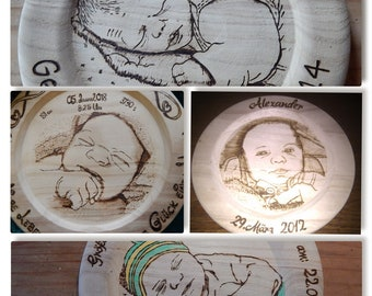 Baptisals burned to about 30 cm wood after photo template, individually made to your liking