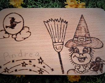 Andrea the Little Witch-Breakfast boards in fire painting