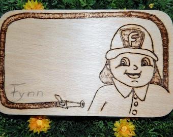 Fynn the firefighter-breakfast boards in fire painting