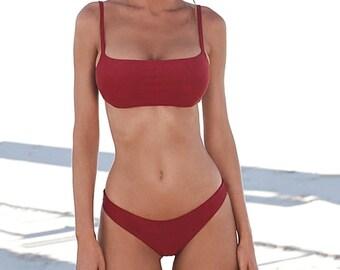 99165294e1 Push Up Bikini Set Women Solid Push-up Pad Bra Swimsuit Swimwear Women  Bather Suit Swimming Suit Beach Attire Trendy