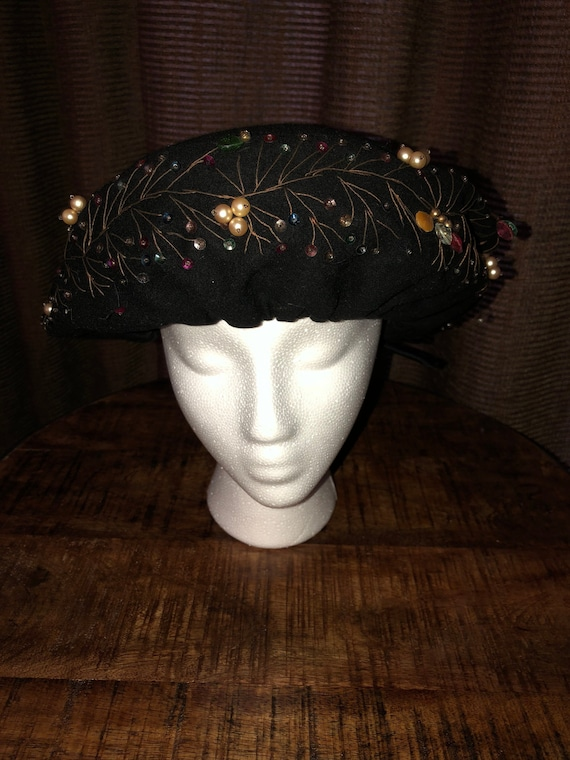 Vintage black beaded beret hat