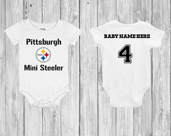 14622c249 Pittsburgh Mini Steeler Customizable Baby Bodysuit