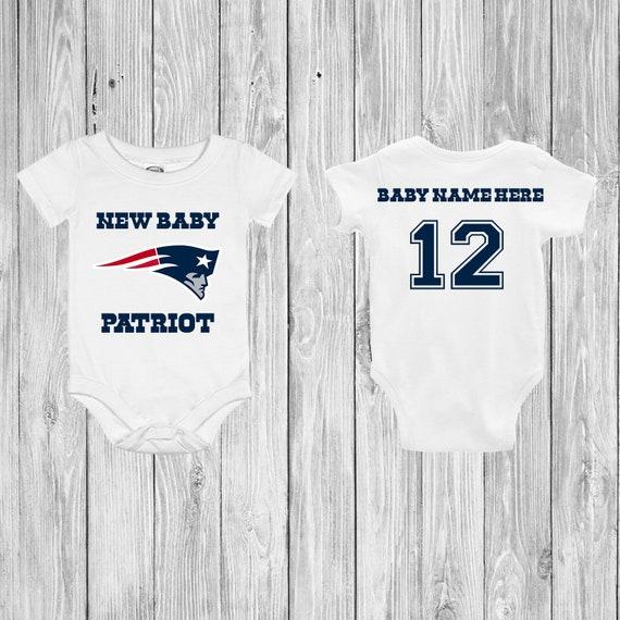 New Baby Patriot Customizable Football Jersey Bodysuit  1024f1c87