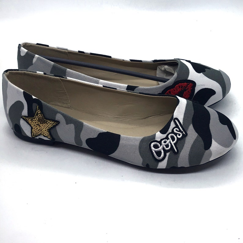 sequin patches embroidery patch embroidered patch flat shoes Custom flats girls flats Camo patched girls flats patches pack