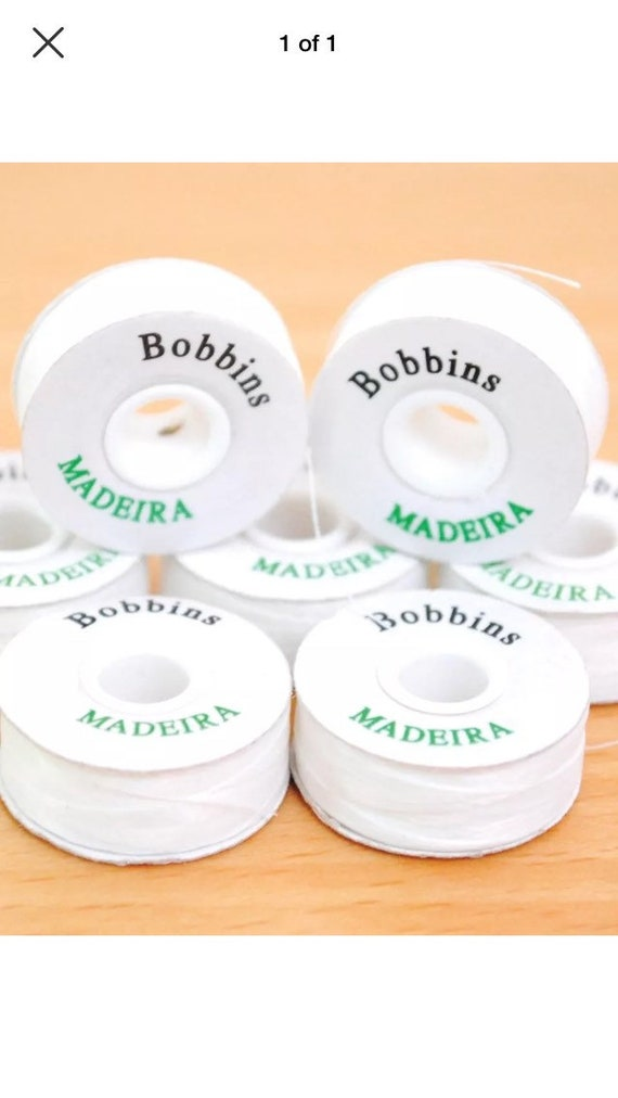 GENUINE MADEIRA PRE WOUND  WHITE POLYESTER EMBROIDERY MACHINE BOBBINS 50 BAG
