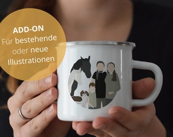 ADD-ON / Illustration on enamel cup (minimalist / personal portrait / by photo / Personalized / Gift) / #designzig