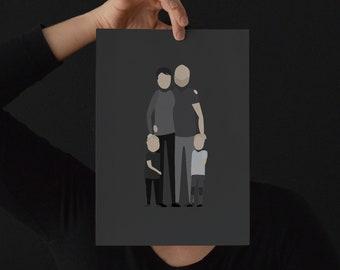 Custom Illustration Family (minimalist / personal family portrait / by photo / personalized / gift) / #designzig