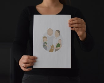 Round Illustration Family (Minimalist / Personal Family Portrait / By Photo / Personalized / Gift) / #designzig