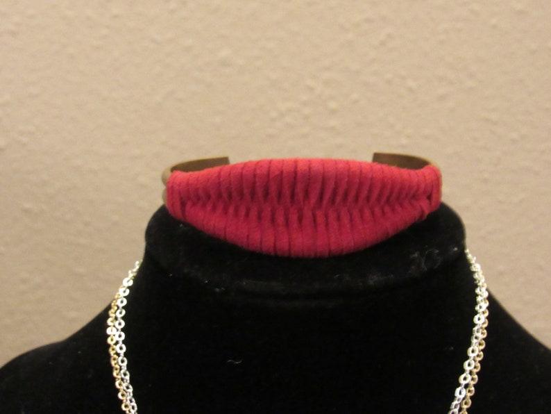 Faux Suede Red Brass Cuff