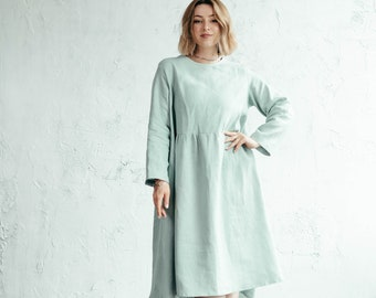 Linen Dress with Pockets, Casual Linen Dress, Midi Linen Dress, Linen Summer Dress, Long Sleeve Dress, Plus Size Dress, Sustainable Clothing