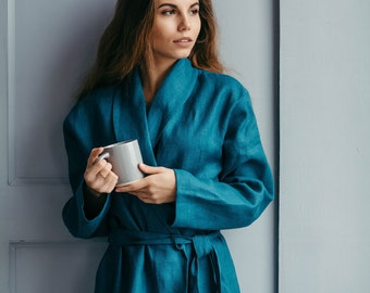 Dressing Gown, Linen Robe, Womens Robe, Christmas Gift for Wife, Wedding Dressing Gown, Bridal Dressing Gown, Bridesmaid Robe, Natural Linen