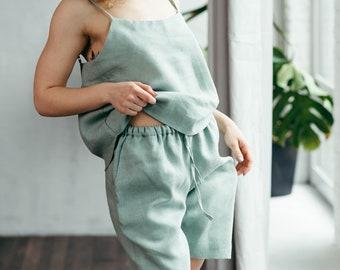Pajama Shorts Set, Pyjama Shorts Set, Pyjama Set Women, Linen Pajamas Women, Linen Pajamas Set, Gift for Mum, Linen Shorts, Linen Loungewear
