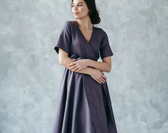 Pure Linen Wrap Dress With Pockets, A Line Midi Spring Summer Dress, Sustainable Clothing, Full Skirt Boho Chic Cocktail Dress