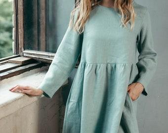 Long Sleeve Linen Dress - Casual Linen Dress - Smock Linen Dress - Oversized Linen Dress - Basic Dress - Dress with Pockets