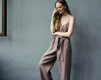 Linen Jumpsuit, Oversized Jumpsuit, Boho Jumpsuit, Casual Jumpsuit, Linen Overalls, Natural Linen Romper, Casual Dungarees, Loose Overalls