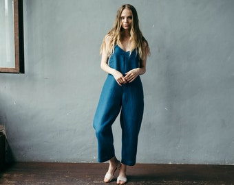 Casual Jumpsuit, Oversized Jumpsuit, Boho Jumpsuit, Linen Jumpsuit, Linen Overalls, Plus Size Jumpsuit, Casual Dungarees, Loose Overalls