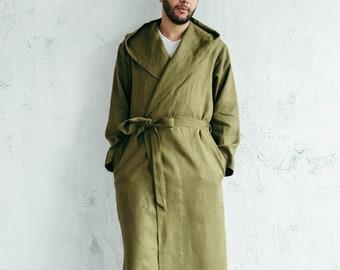 Robe with Hood - Robe for Men - Linen Robe for Women - Mens Robe - Linen Bathrobe - Hooded Robe - Gift for Husband