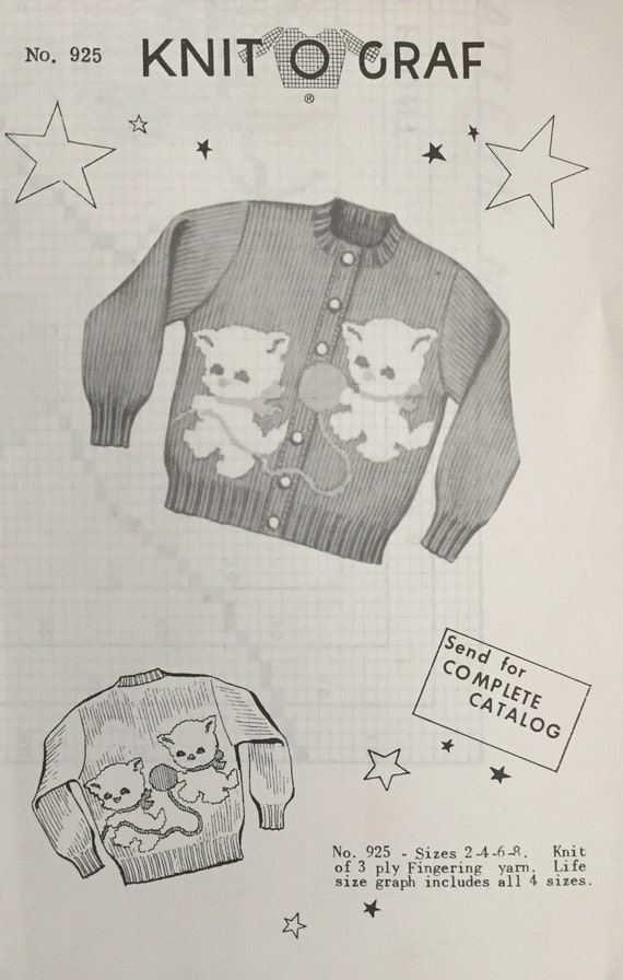 Knit O Graf 925 Vintage Kitten Vintage Sweater Pattern Sold Etsy